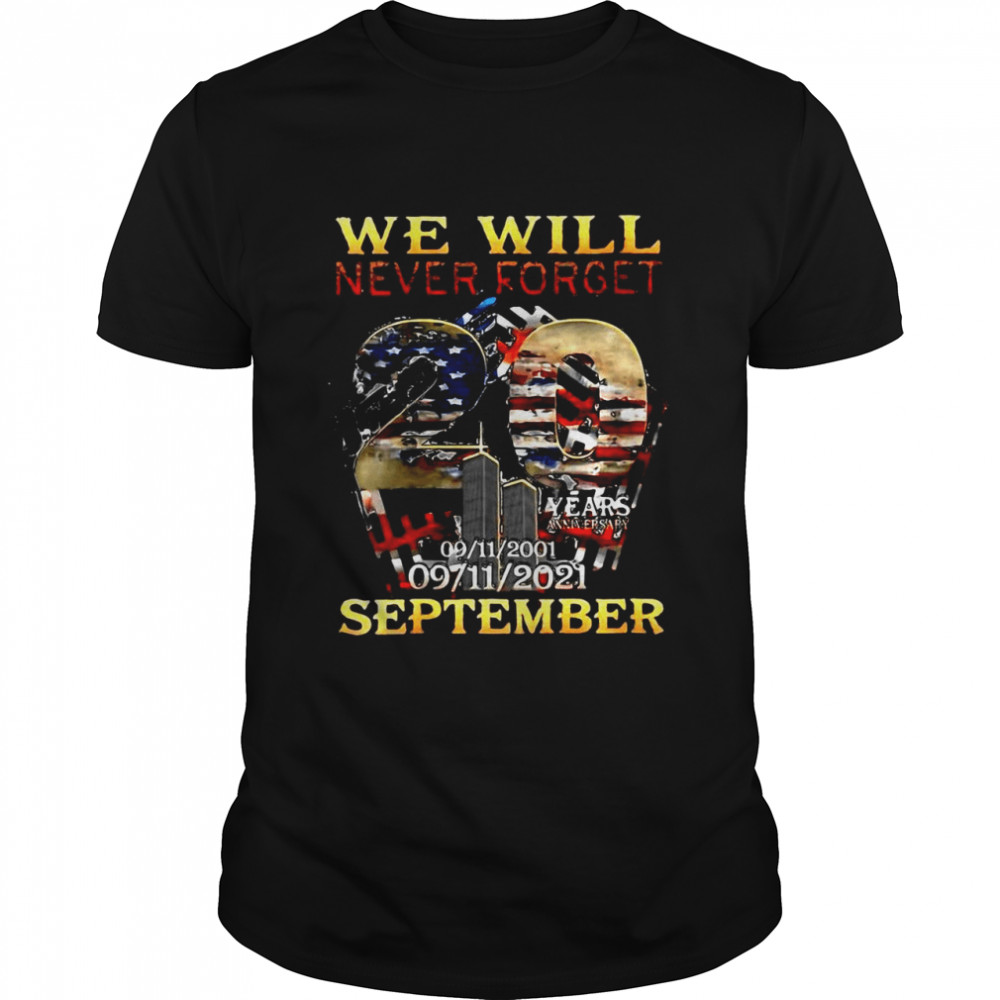 Never Forget Some Gave All 20 Year 911 Memorial September 01 T-shirt Classic Men's T-shirt