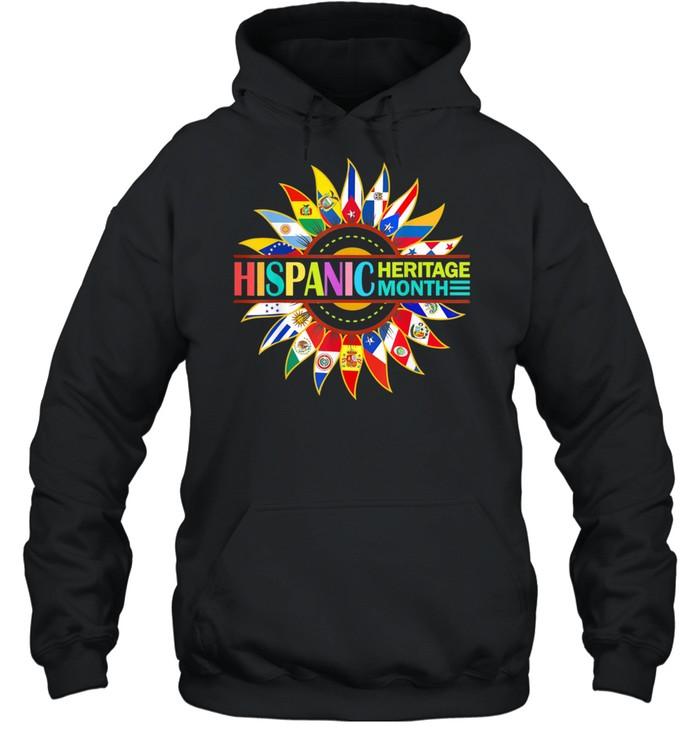 Hispanic Heritage Month Latino Countries Flags Sunflower shirt Unisex Hoodie