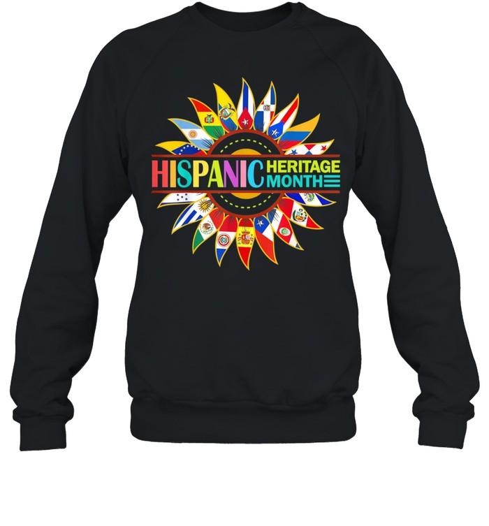 Hispanic Heritage Month Latino Countries Flags Sunflower shirt Unisex Sweatshirt