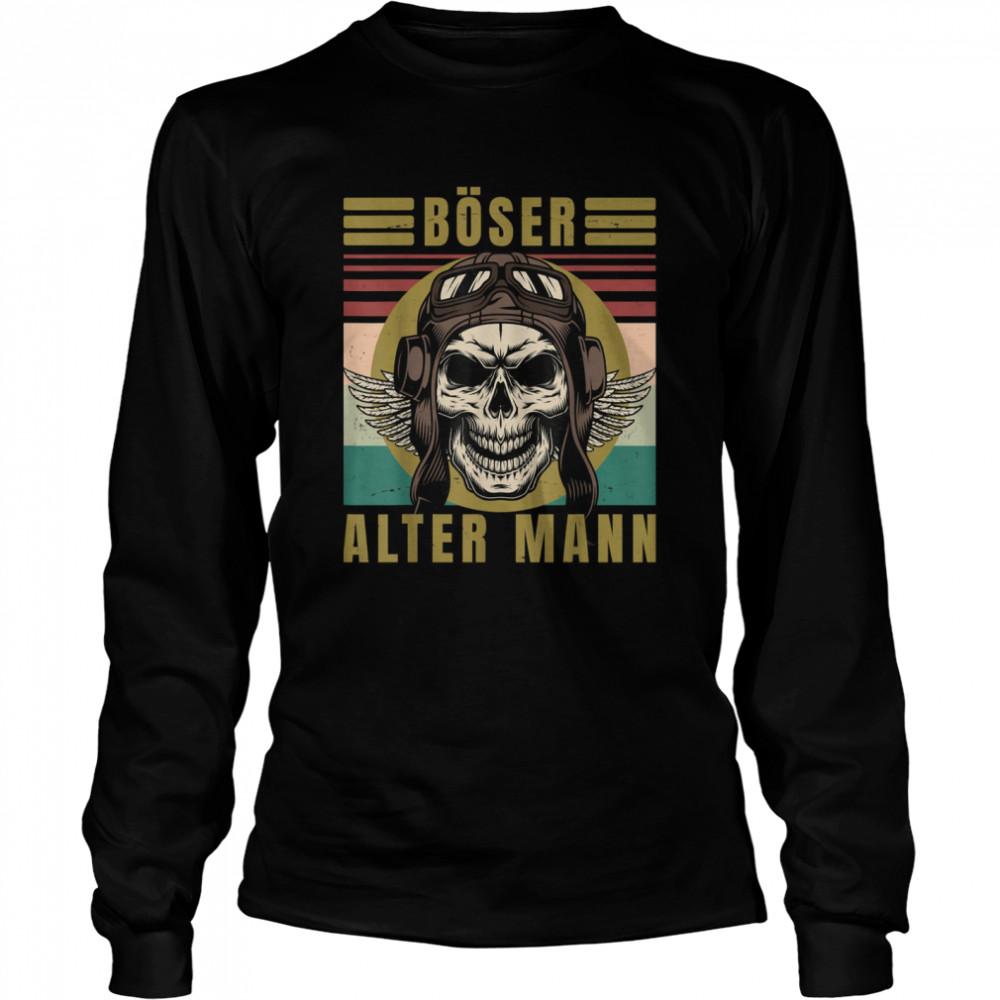 Men's evil old man skull vintage biker gear  Long Sleeved T-shirt