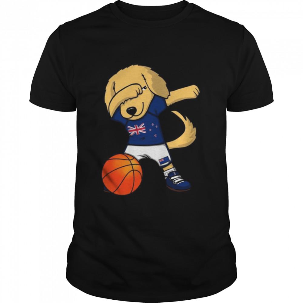 Dabbing Golden Retriever New Zealand Basketball Fans Jersey  Classic Men's T-shirt