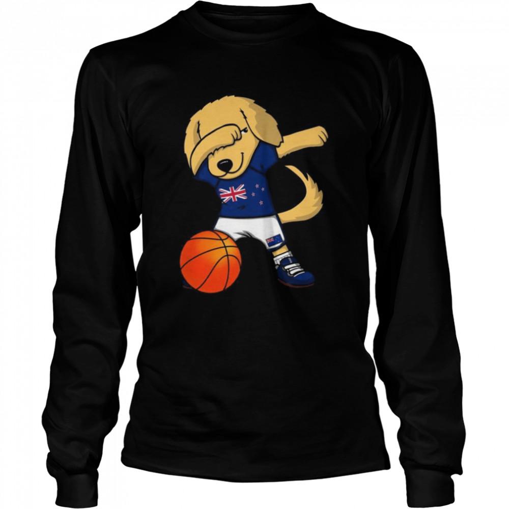 Dabbing Golden Retriever New Zealand Basketball Fans Jersey  Long Sleeved T-shirt