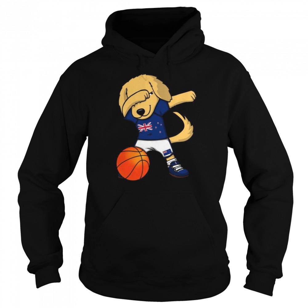 Dabbing Golden Retriever New Zealand Basketball Fans Jersey  Unisex Hoodie