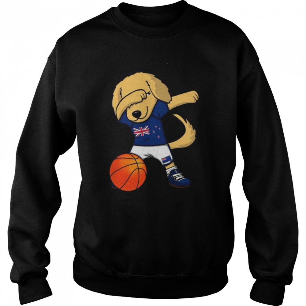 Dabbing Golden Retriever New Zealand Basketball Fans Jersey  Unisex Sweatshirt