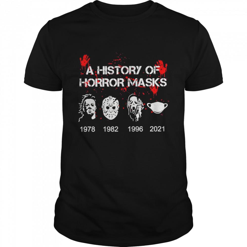 A History of horror masks 1978 1982 1996 2021 shirt