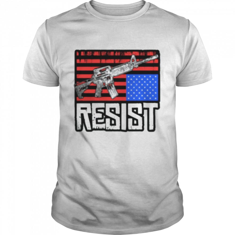 Gun Resist American Flag  Classic Men's T-shirt