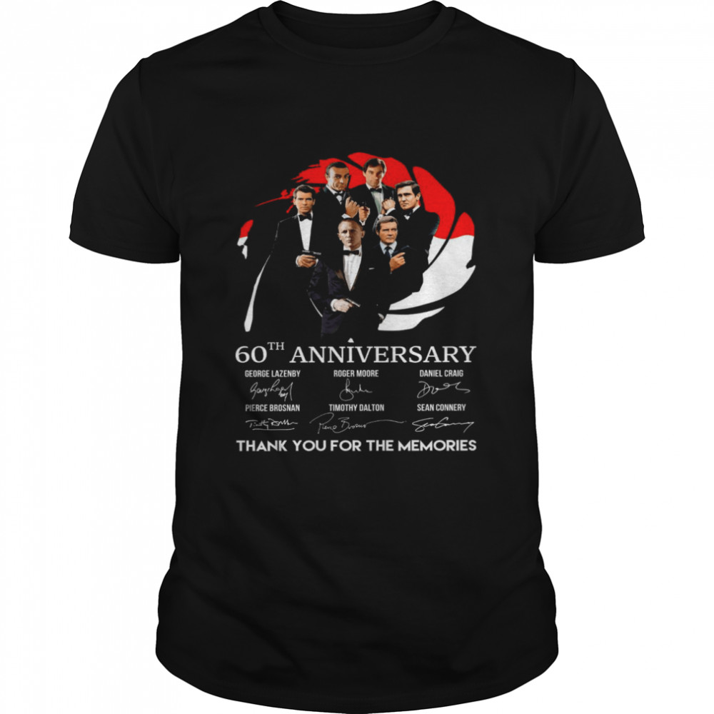James Bond 007 60th Anniversary George Lazenby Roger Moore Thank You For The Memories  Classic Men's T-shirt