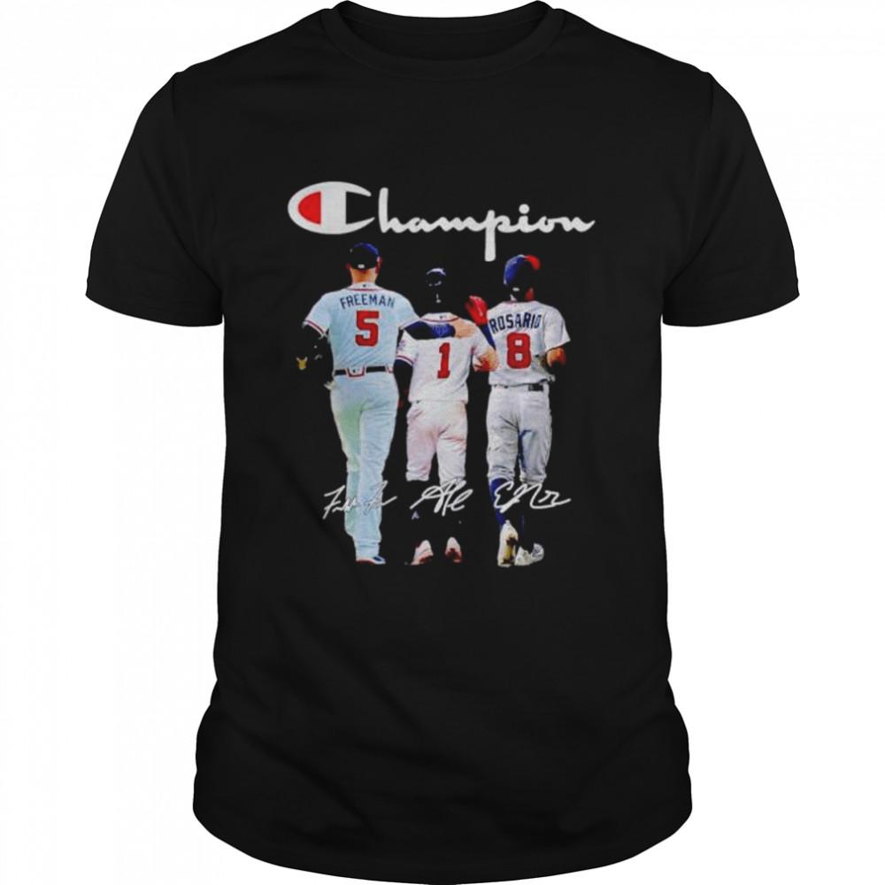 Premium atlanta Braves Champion Freeman Albies Rosario signatures shirt Classic Men's T-shirt